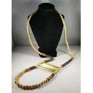 Ink + Alloy Wood Bead Metal Crossbars Necklace